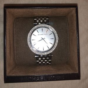 Silver Michael Kors Watch with Rhinestone Accents